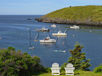 The Island Inn Lawn and Monhegan Harbor, Monhegan Island, Maine, USA
