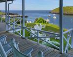 The Island Inn Porch and Monhegan Harbor, Monhegan Island, Maine, USA