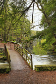 Gorge Trail Footbridge, Wolf Creek, Letchworth State Park, New York, USA