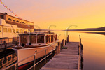 Sunrise, Town dock on Seneca Lake, Finger Lakes, Watkins Glen, New York, USA