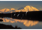 Sunset reflection in Wonder Lake, Denali National Park, Alaska