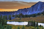 Sunset, Bellamy Lake, Snowy Range Scenic Byway, Centennial, Wyoming, USA