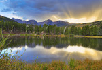 Sunset, Sprague Lake, Sprague Lake Trail, Rocky Mountain National Park, Estes, Colorado, USA