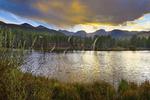 Sunset, Sprague Lake, Sprague Lake Trail, Rocky Mountain National Park, Estes, Colorado, USA