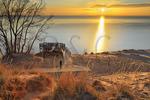 Sunset, Lake MIchigan Overlook, Pierce Stocking Scenic Drive, Sleeping Bear Dunes National Lakeshore, Empire, Michigan, USA