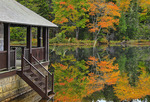 Boat House, Little Long Pond, Little Long Pond Loop Carriage Road, Acadia National Park, Mount Desert Island, Maine, USA