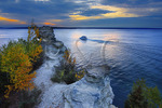 Tour Boat, Miners Castle Overlook, Pictured Rocks National Lakeshore, Munising, Michigan, USA