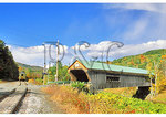 Green Mountain Scenic Railroad passing Bartonsville Covered Bridge, Vermont