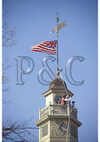Raising Early American Flag on the Historic Capital Building, Colonial Williamsburg, Virginia