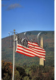 American Flag and Bennington Battle Monument, Bennington, Vermont