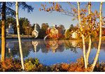 Three churches at millpond at sunrise, Marlow, New Hampshire
