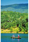 Canoers with dog on Lake at Douthat State Park, Clifton Forge, Virginia
