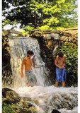 Boys in mill race, Burwell Morgan Mill, Millwood, Shenandoah Valley, Virginia