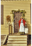 Woman and Christmas Decorations, Colonial Williamsburg, Virginia