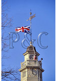 Lowering British Flag on the Historic Capital Building, Colonial Williamsburg, Virginia
