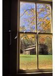 Palmer Barn Seen Through Palmer House Window, Cataloochee Valley, Great Smoky Mountains National Park, North Carolina