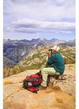 Hiker at Photographer's Point, Fremont Peak in Distance, Pole Creek Trail, Bridger Wilderness, Wind River Range, Pinedale, Wyoming