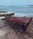 Hand made boat, Cayos Cochinos Grande, Bay Islands, Honduras