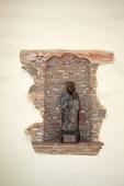 Statue in courtyard niche, Mission Can Carlos Borromeo de Carmelo
