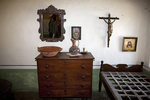 Recreated bedroom, Mission San Carlos Borromeo de Carmelo, Carmel, California