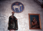 Painted Carving of the Lamb of God and Portrait of Madonna and Child, Mission San Carlos Borromeo de Carmelo