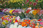 A colorful stand of cut flowers brightens a winter street on the Upper East Side of Manhattan Island in New York City, New York.