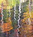 Shimmering sunlight and wafting breezes create abstract autumn reflections on the surface of Lake Lure in the mountains on western North Carolina.