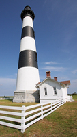 Up-close and personal view of the Bodie Island Lighthouse as it now stands on the northern end of the Cape Hatteras National Seashore on North Carolina's Outer Banks.