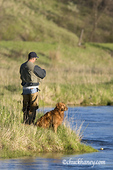 Fly fishing with Golden Retriever