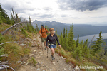 Hikers on the Numa Ridge Trail above Bowman Lake in Glacier National Park in Montana  model released