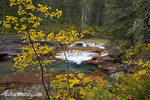 Deadwood Falls on Reynolds Creek in autumn in Glacier National Park in Montana