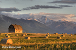Old barn framed by hay bales and dramatic Mission Mountain Range in Montana