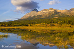 Small lake reflects mountain peaks at Marias Pass in Glacier National Park in Montana