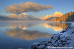 Fog rises from Lake McDonald on a very cold afternoon in Glacier National Park in Montana