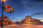 Winter dusk settles upon Central Avenue in Whitefish Montana