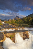 Morning light greets Swiftcurrent Falls in the Many Glacier Valley of Glacier National Park in Montana