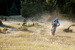 Mountain biker Courtney Feldt rides singletrack at the Pig Farms Trails in the Stillwater State Forest near Whitefish Montana model released