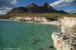 Sea kayaker on the Gulf of California at Isla Carmen near Loreto Mexico model released