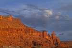 The Fisher Towers in evening light near Moab, Utah, USA