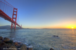 The Golden Gate Bridge at sunrise from Fort Point in San Francisco, California, USA