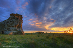 Spectacular sunset skies at Medicine Rocks State Park near Ekalaka, Montana, USA