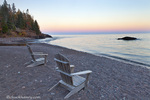 Adirondack chairs on the shores of Lake superior at Lutsen Resort, Minnesota, USA