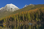 Sea kayaking in Bowman Lake in autumn in Glacier National Park, Montana, USA, model released