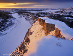 The Little Missouri River in winter in Theodore Roosevelt National Park, North Dakota, USA