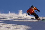 Brendan Friel carves on corduroy groomed runs at Whitefish Mountain Resort in Montana model released