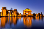 Palace of Fine Arts at dusk in San Francisco, California, USA