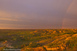 Rainbow during thunderstorm at Painted Canyon in Theodore Roosevelt National Park; National Park, North Dakota, USA