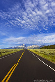 Empty park road in Grand Teton National Park, Wyoming, USA