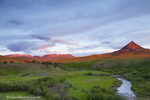 Elk Creek runs below Haystack Butte at first light near Augusta, Montana, USA