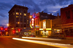 Main Street in Uptown Butte, Montana, USA at dusk